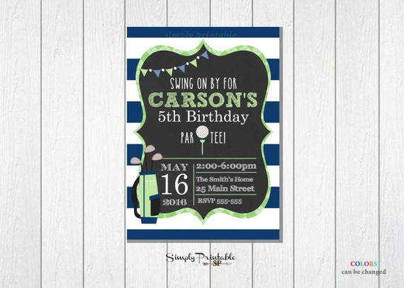 Golf Birthday Party Invitation, Golf Invite, Blue Green Striped Golf Invitation