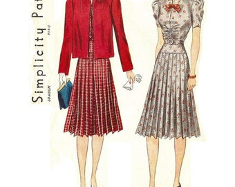1940s Womens Tailored Dress Pattern Jacket Pattern, Square Neckline, Pleated Sleeves, Size 18 Bust 36 Simplicity 3355 Vintage Sewing Pattern