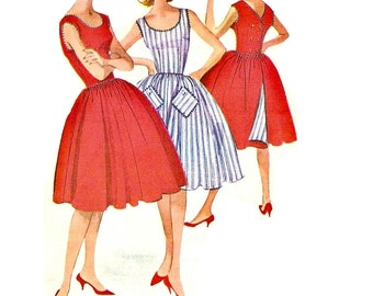 1960s Reversible Dress Pattern, Sleeveless, Gathered Skirt, V Backline, FF, Bust 32 Size 12 McCalls 5861 Womens Vintage Sewing Pattern