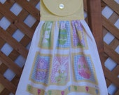 Easter Egg and Rabbit Kitchen Tea Towel LAST ONES Easter Hanging Dish Towel Pastel Easter Kitchen Towels SnowNoseCrafts