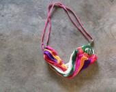 Vintage Woven Mesh Festival Bag Rainbow Open Weave Hippie Boho Sling Bag