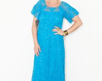 Vintage 60s Mexican Crochet Dress , Vintage Lace Dress