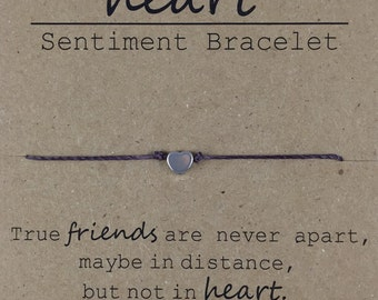 Heart Friendship Bead Bracelet, Dainty Bead Bracelet, True friend bracelet, Best Friend Gift, Friend Moving Away Gift, Sentimental Gift