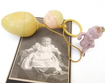 Antique Baby Rattles / Celluloid BabyToy / Nursery Decor /  Mix Media Shadow Box Art