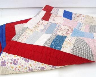 Antique Quilt / Patchwork Scrap Coverlet / Americana Red White Blue Blanket - Cotton Prints