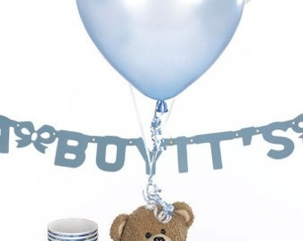 Hydrangea Baby Shower Centerpieces for Boys - Balloon Centerpiece & Table Decorations package