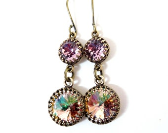 Pastel crystal brass earrings. Antiqued brass set rhinestone double drop, Austrian crystal multi color stones, vintage style crystal jewelry