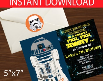 Star Wars Party Invitation 5x7 - instant download