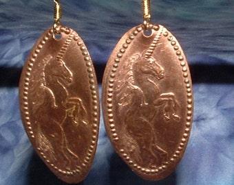 Copper Unicorn Earrings