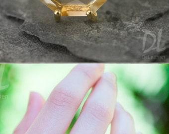 Yellow Citrine Ring Gold, November Birthstone Ring, Stackable Birthstone Ring, Marquise Ring, Prong Set Ring, Dainty Ring, Delicate Ring