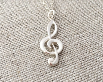 Sterling Silver G Clef Necklace, Treble Clef, Sterling Silver Chain