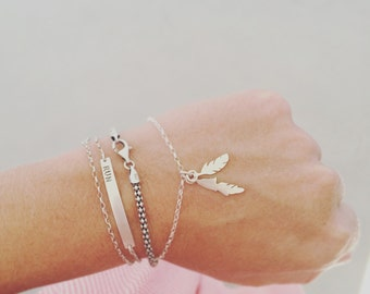 feather bracelet silver feathers bracelet