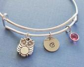 Owl Bracelet, Baby Owl Bangle, Initial Bangle,Silver Bangle,Personalized,Expandable,Charm Bracelet,Birthstone Bracelet,BFF Friend,Birthday