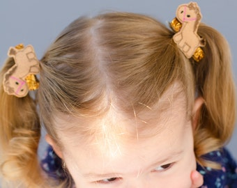 Horse pig tails - Brown horse clips - Horse felt clips - Animal clips - Horse piggy tails - Horse hair bows - Horse bows