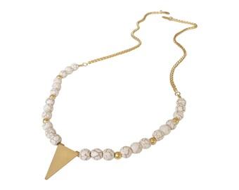 Boho Necklace, Ivory Beads necklace, Geometric necklace, Stone Jewelry, Beaded Necklace, triangle necklace, Ivory Gold necklace, fashion
