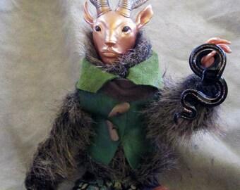 Cernunnos Faun - Wild God of the Forest OOAK Art Doll Fantasy Mixed Media Sculpture
