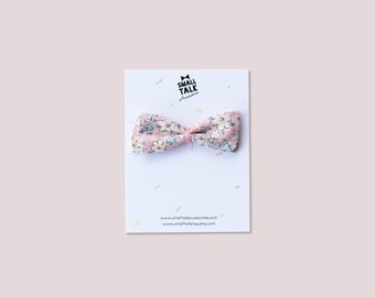 Floral Bow - Nylon Headband or Hair clip - Baby Headband - Pastel Flowers Headband