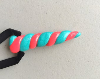 Unicorn Horn - Polymer Clay Medieval Renaissance Faire Costume Cosplay Headband - Pearl Turquoise & Neon Flashy Pink