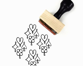 Rubber Stamp Playing Card Suits - Symbols Hearts Spades Diamonds Clubs Pattern Stamp - Wood Mounted Stamp