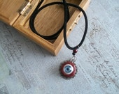 metal necklace blue eye necklace red black jewelry handmade unusual victorian style necklace real looking eyeball charm necklace fun jewelry