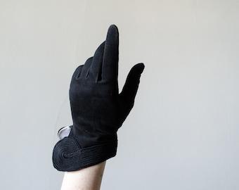 1950s vintage gloves / black suede gloves / Antilope size 6.5