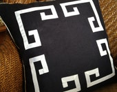 "18"" Greek Key Aegean Fretwork Black and White- Pillow Cover- Ready to ship"