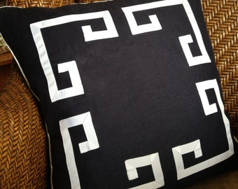 "18"" Greek Key Aegean Fretwork Black and White- Pillow Cover-"