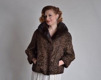 Vintage 1950s Schiaparelli Fur Coat - Chocolate Broadtail Mink Collar - Bridal Fashions