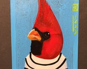 Red Cardinalportrait on a playing cards. Original acrylic painting. 2013