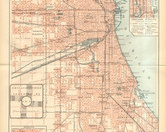 1894 Antique City Map of Chicago, United States