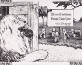 Merry Christmas- 1950s Vintage Card- Old English Sheepdog Breeder- The Lovejoys- Happy New Year- Holiday Decor- Paper Ephemera