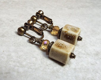 Clip on Earrings, Screw Back Earrings, Cube Earrings, Ceramic Earrings, Antiqued Brass, Drop Earrings, Dangle Earrings, Earth Tones
