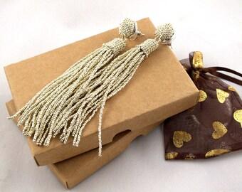Silver beaded bridal tassel earrings - long post earrings- statement seed beads earclip- dangle earstuds- bridesmaid earrings- beadwork