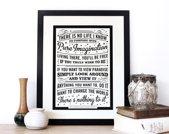 Pure Imagination, Willy Wonka Quote, Typography Screen print, black and white art, Chatty nora, Roald Dahl, wall print, quote print