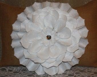 "Home decor-Pillow covers-Cushions-Floral-Felt Flowers-Room decor-Natural burlap pillow-14x20"" Pillow-Dahlia 3D White Felt flower"
