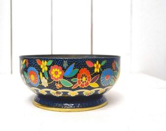 Floral Tin Bowl 1960s Mod Dutch Style Vintage Metal Pedestal Display Bowl