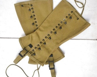 Lace Up Snake Guards - Vintage Snake Gaiters - Canvas Boot Covers - 1940s Military Spats Uniform - Steampunk Edwardian Style
