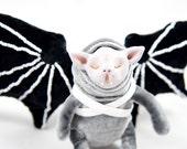 Vampire Kitten Bat Art Doll - Velvet Vampire Bat Art Doll - OOAK Bat Art Doll - Removable Bat Wing Harness Art Doll - Purple Bat Art Doll