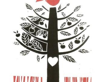 Love Tree  - Love Bird - Tree of Life - Blue Bird and Heart -  Love Gift - Linocut , Romantic Love Print - Anniversary Gift