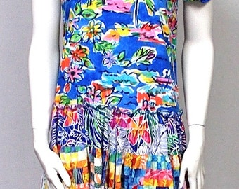 Jams World dress S tropical breeze crinkle 100% Rayon Summer dresses Tiered  V neck short sleeves multi color Sundress Baby Doll Mini Misses