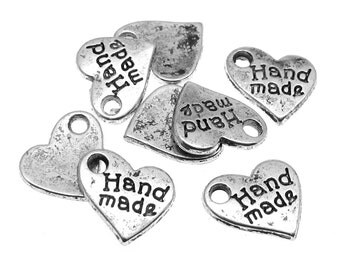 "Silver Charms : 25 Antique Silver Heart ""Handmade"" Charms 