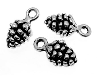 10 Antique Silver Pine Cone Charms | Silver Pine Cone Pendants -- Lead, Nickel & Cadmium Free 0909.H6C
