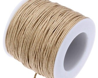 Waxed Cotton Cord : Camel Tan 1mm Waxed Cord String / Bracelet Cord / Macrame Cord [Choose 10 feet or 30 feet] -- 278