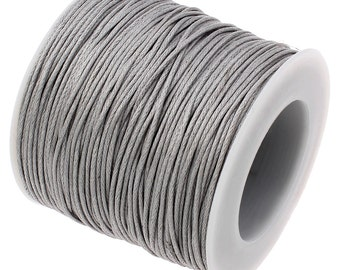 Waxed Cord : Dove Gray 1mm Waxed Cord String | Bracelet Cord | Macrame Cord | Chinese Knotting Shamballa [Choose 10 feet or 30 feet] 314-30