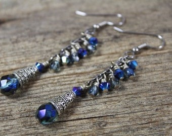 Aqua and Iris, Turquoise Blue Green Indigo, Dangle Earrings / Swarovski Crystal and Czech Glass / Gifts for Her / Gifts for Women / Blue