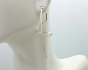 Spiral Earrings - Ear Spirals - corkscrew earrings - modern spiral earrings - nickel free - 14k Yellow Gold - Rose Gold