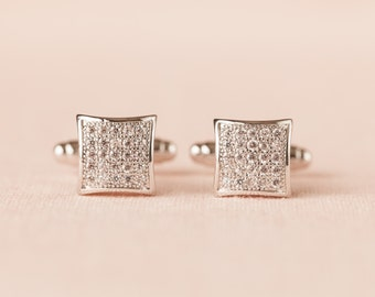 Cufflinks, Mens Crystal cufflinks,  Swarovski crystal cufflinks, Wedding jewelry, Men's Pave' Crystal Cufflinks