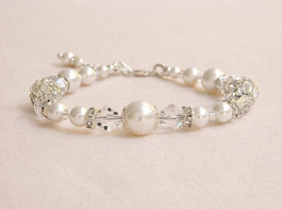 Pearl Bridal Bracelet  Wedding single strand swarovski crystal swarovski pearls rhinestones, Kaylee Bracelet