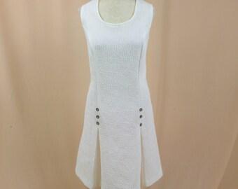 White Dress * White Scooter Dress * 70s Dress * 1970s Dress * Retro Dress * Tennis Dress * Drop Waist Dress * 70s Polyester Dress