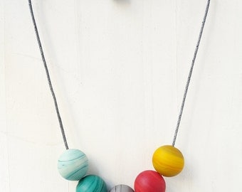 Beaded necklace, colorful necklace, chunky necklace, glass bead necklace, rainbow necklace